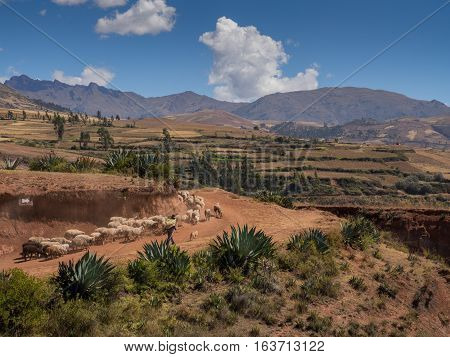 Andes mountains near Moray ruins in the Sacred Valley of the Incas Peru