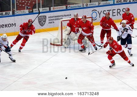 MOSCOW RUSSIA - NOVEMBER 26 2016: on hockey game Spartak vs Slovan on Russian KHL premier hockey league Championship in Luzhniki sport arena Moscow Russia. Spartak won 4:2