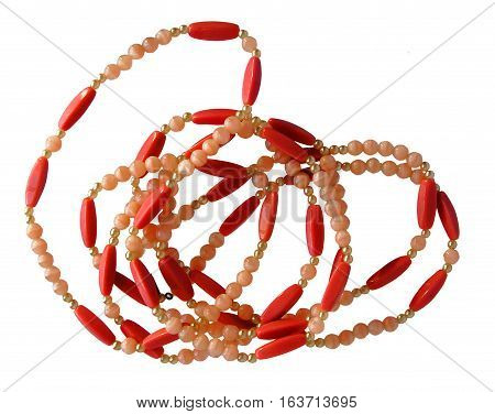 Necklaces of glass beads and pearls isolated on white background