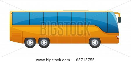 Orange big tour bus isolated on white background