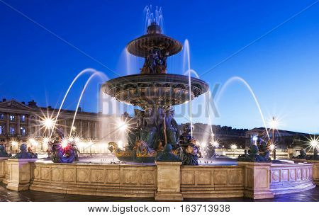 The fountain de la Concorde is monumental fountain designed by Jacques Ignace Hittorff and completed in 1840 during the reign of King Louis Philippe.