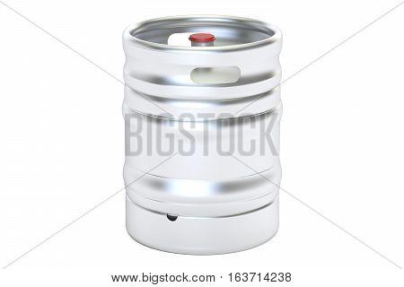 Beer metallic keg 3D rendering isolated on white background