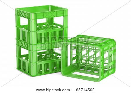 empty green plastic storage boxes crates for bottles. 3D rendering isolated on white background