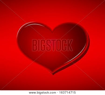 Glass heart on red background Valentine's Day.