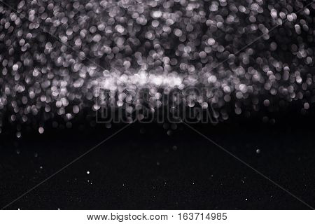 Defocused Abstract Black Glitter With Bokeh Background