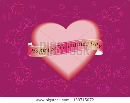 Romantic card from heart, tapes and wishes of happy St. Valentine's Day