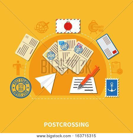 Postcrossing design in flat style with postage cards and stamp envelopes on yellow background vector illustration