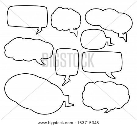 speech bubbles outline vector symbol icon design. Beautiful illustration isolated on white background