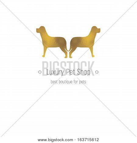 Golden logotype for luxury pet shop and animals