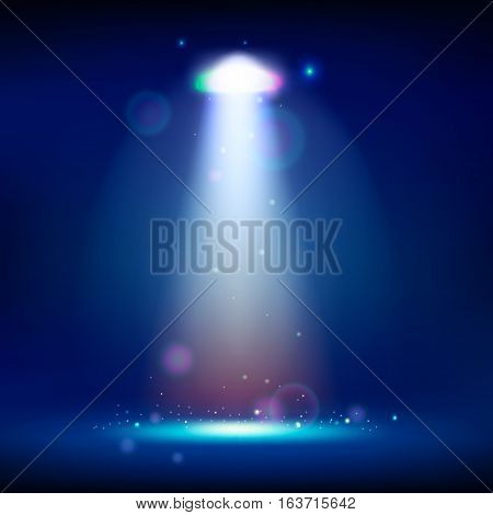 scene illumination show, bright lighting with spotlights, floodlight disco vector illustration