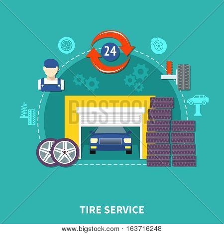 Tire service flat design concept with wheels elements of suspension and automobile in garage decorative icons set vector illustration