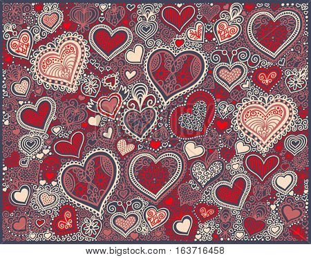 original hand drawing heart shape background in red colors to valentines day design, vector illustration