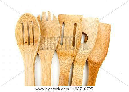 Set Of Bamboo Utensils Isolated On A White Background