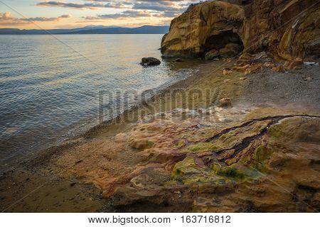 Scenic Thermal Waterfalls  On  Beach In Loutro Edipsou, Evia, Greece