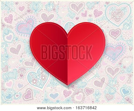 Valentines day red paper hand drawing on heart shape background, vector illustration