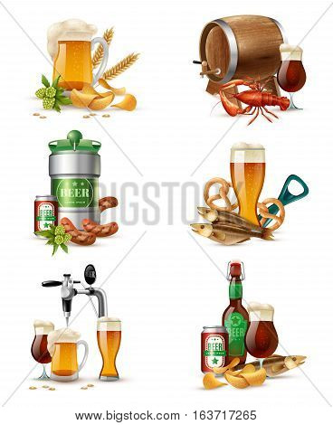 Tap beer in nonic glass tubs compositions set with brewers cask raw malt snacks and fish vector illustration