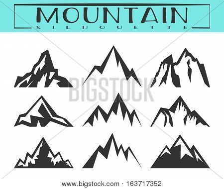 Mountain silhouette for logo icons badges and labels. Camping climbing hiking travel and outdoor recreation symbol. T-shirt print. Vector illustration