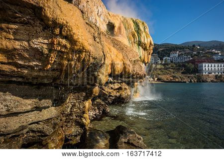 Scenic Thermal Waterfalls  On  Beach In Loutro Edipsou, Evia, Greece