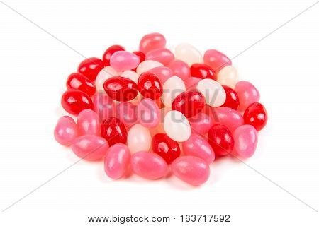 Valentine Colored Jelly Beans Isolated On A White Background