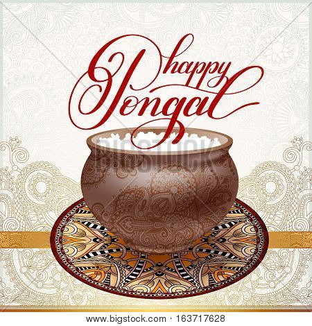 happy pongal handwritten ink lettering inscription on floral paisley pattern to occasion of south Indian harvesting festival holiday design, greeting card, celebration, calligraphy vector illustration