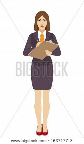 Businesswoman writes on the clipboard closeup. Businesswoman signs a handle documents. Full length portrait of businesswoman in a flat style. Vector illustration.