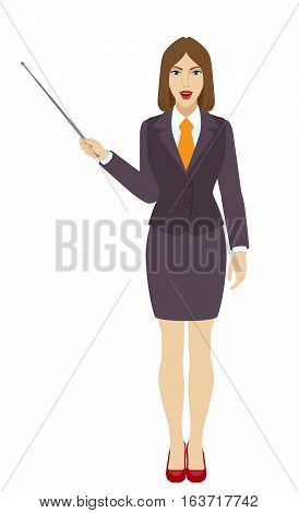 Businessman shows pointer. Full length portrait of businesswoman in a flat style. Vector illustration.