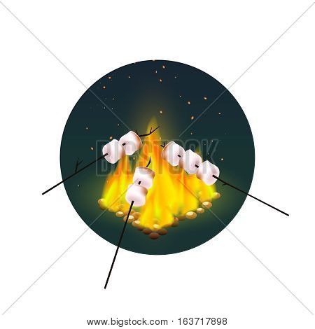 Round design with roasting of marshmallows on bonfire in evening on white background vector illustration