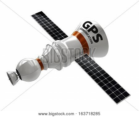 Gps Satellite. Flat 3D Illustration. Wireless Satellite Technology. World Global Net.
