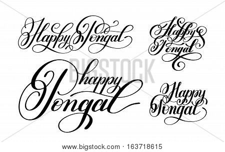 happy pongal handwritten ink lettering set inscription to occasion of south Indian harvesting festival holiday design, greeting card, poster, celebration, calligraphy vector illustration collection