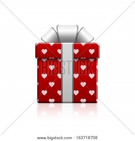 Valentine's day gift box and heart wrapping vector isolated illustration