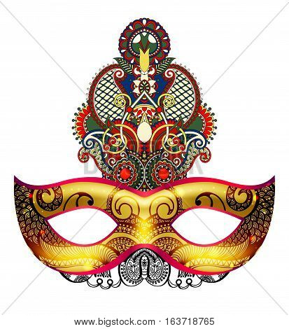 3d gold venetian carnival mask silhouette with ornamental feather isolated on white background, vector illustration