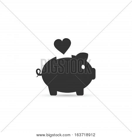 Piggy bank with heart vector isolated love illustration.