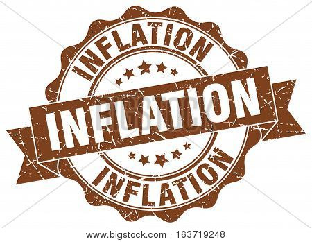 inflation. stamp. sign. seal. round. retro. ribbon