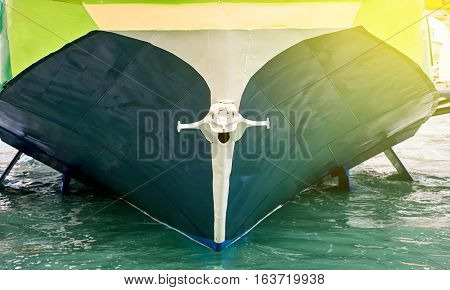 Anchor on modern yach boat on a sunny day