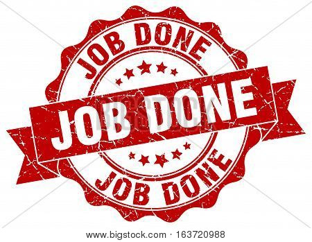 job done. stamp. sign. seal. round. retro. ribbon