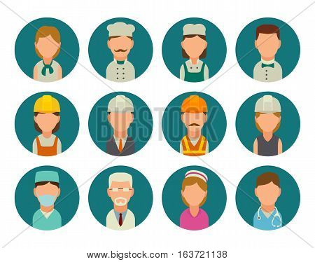 Set icon character cook builder and medical people. Vector flat illustration on turquoise circle.