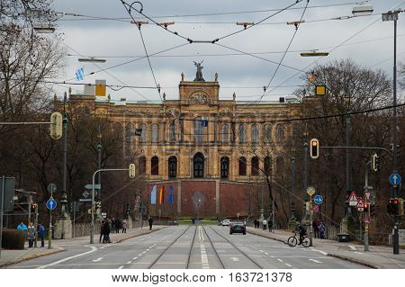 Munich Germany - December 25 2014: view of the Maximilianeum Palatial Building on December 25 2014 in Munich Germany.