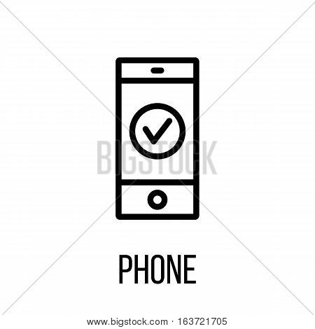 Phone icon or logo in modern line style. High quality black outline pictogram for web site design and mobile apps. Vector illustration on a white background.