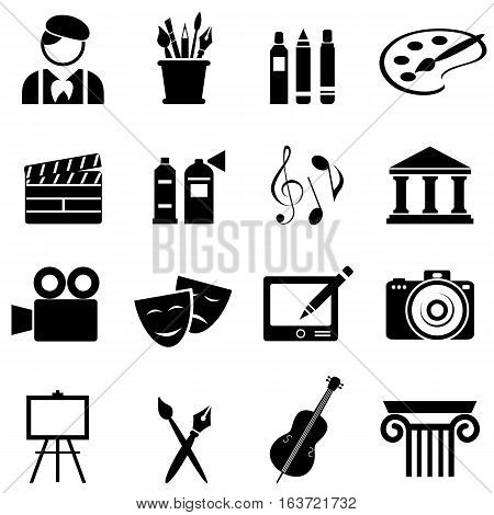 Art icon set in black on white background