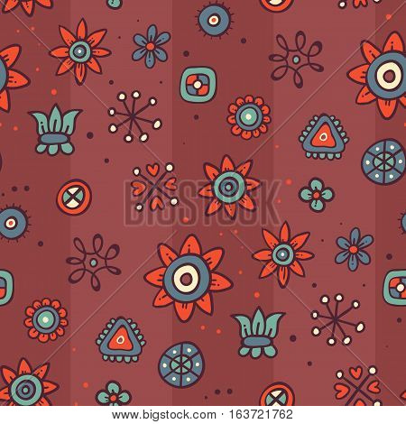 Cute Seamless Pattern With Flowers And Abstract Elements On Brown Striped Background. Eps-10 Vector