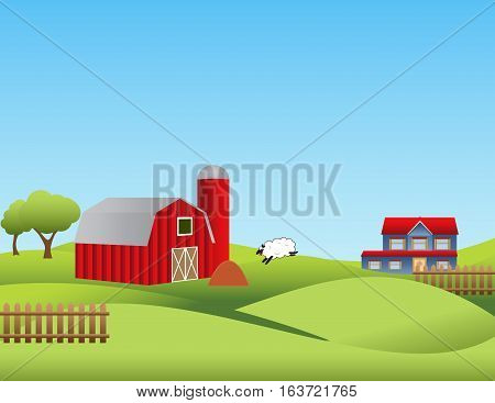 Farm and countryside landscape with rolling hills