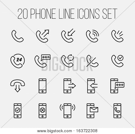 Set of phone icons in modern thin line style. High quality black outline communication symbols for web site design and mobile apps. Simple linear phone pictograms on a white background.