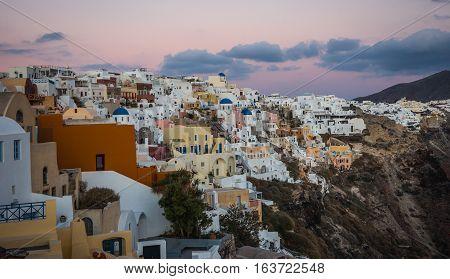 White City On  Slope Of  Hill At Sunset, Oia, Santorini