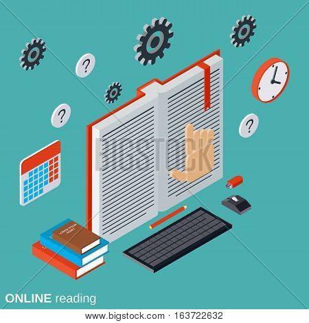 Online reading, education, tutorial, user guide flat isometric vector concept illustration