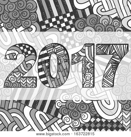 New Year 2017 Zentangle Holiday Background Grey