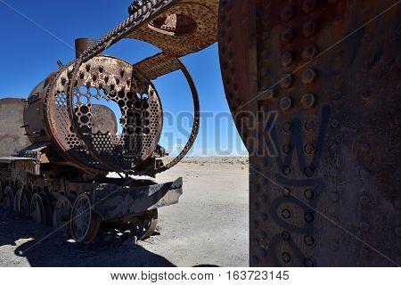 Old Steam Locomotive in Train Cemetery Bolivia South America