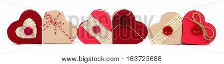 Long Border Of Rustic Valentines Heart-shaped Gift Boxes Isolated On A White Background