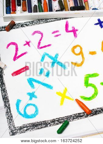 Colorful oil pastels drawing - math operations