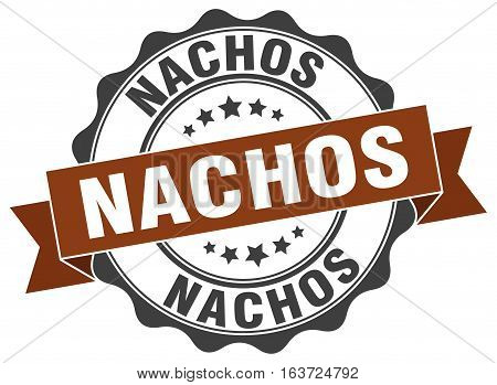 nachos. stamp. sign. seal. round. retro. ribbon