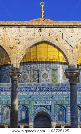 Dome of the Rock Arch Islamic Mosque Temple Mount Jerusalem Israel. Built in 691 One of most sacred spots in Islam where Prophet Mohamed ascended to heaven on an angel in his